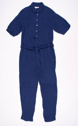 Xirena Blue Gauze Button Down Collared Jumpsuit Si