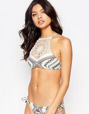 -% River Island Color Crema con Motivo a collo alto Set di bikini all'uncinetto, UK 18