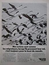 11/1973 PUB UTA AIRLINE DC-10 AIRLINER OISEAU MIGRATEUR FLAMAND ROSE FRENCH AD