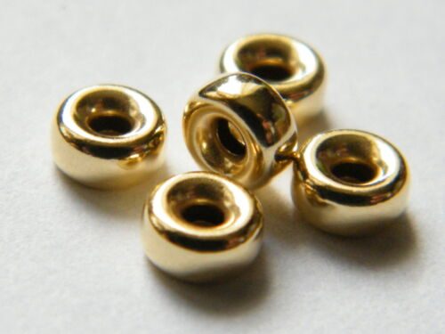 5x 18ct Yellow Gold 3mm  2 Hole Flat Hollow Beads Necklace Findings 18K/.750
