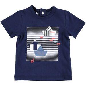 T-shirt-In-Cotone-Blu-Con-Barchette-Neonato-Minibanda-W635