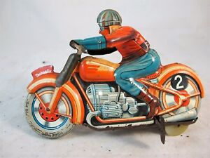 RARE-1950-039-S-FRENCH-TECHNOFIX-GE255-MOTORCYCLE-amp-RIDER-TOY-CLOCKWORK