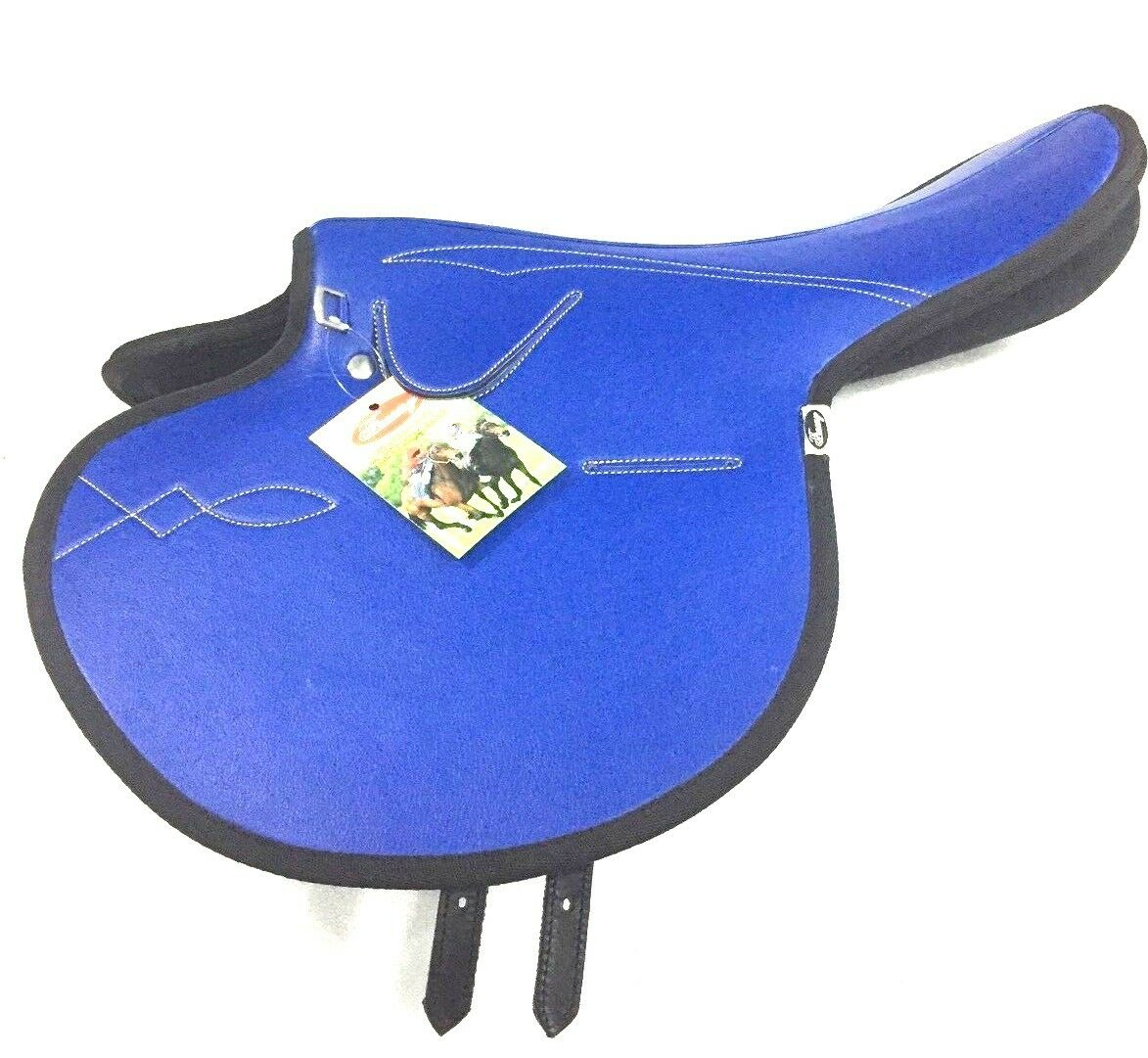 New International Quality Synthetic Race Exercise Saddle bluee color