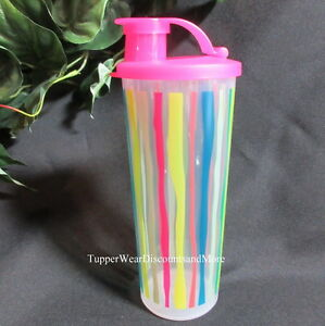 TUPPERWARE-NEW-Color-Stripes-Design-16-oz-TUMBLER-Cup-With-PINK-FLIP-Top-Seal
