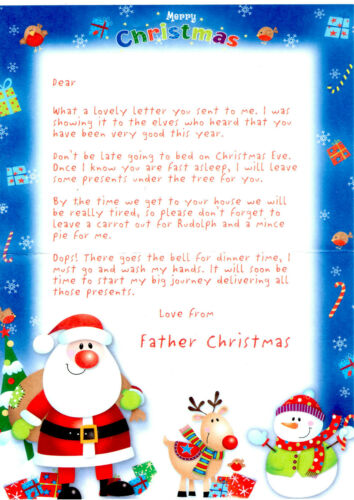Letter From Santa//Father Christmas//Xmas A4 size
