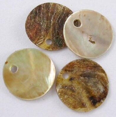 LOT de 30 PERLES rondes plates SEQUINS NACRE NATUREL 15mm création bijoux