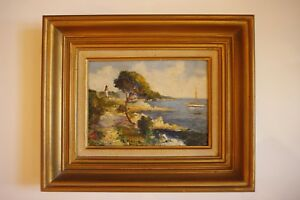 cote akoun tableau ancien marine huile sur panneau de Micheline MASSE XXème
