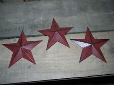 "Set of 6-8/"" BURGUNDY BLACK BARN STARS Metal Tin  Primitive Country"