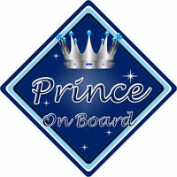 Non Personalised Child/Baby On Board Car Sign ~ Prince On Board ~ D.Blue
