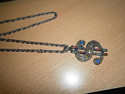 1 Damenhalskette Silberfarben $ Zeichen Strasssteine Modeschmuck Neu