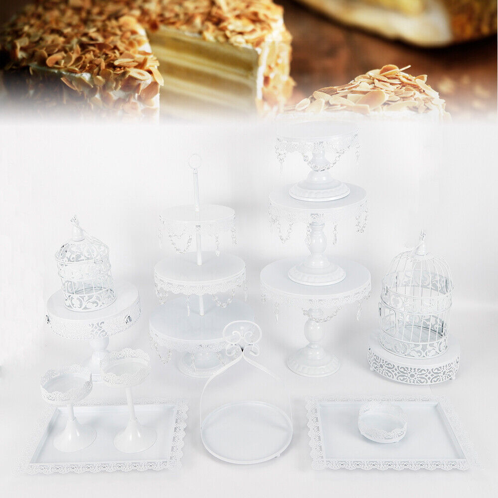 14Pcs Cake Stand Crystal Cupcake Holder Plate Display Tower for Wedding Party US