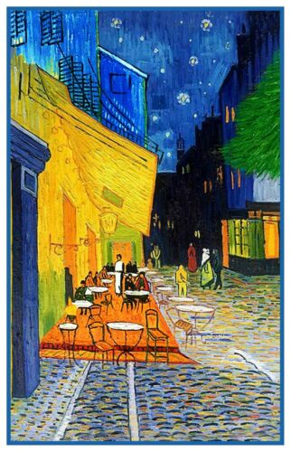 Cafe Terrace at Night by  Impressionist Van Gogh Counted Cross Stitch Pattern