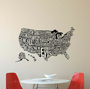 USA Map Wall Decal United States Names Vinyl Sticker Art Poster - Us map wall decal