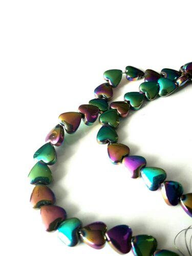 Hematite heart beads AB petrol rainbow 6mm 1 strand approx 72 pcs grade A