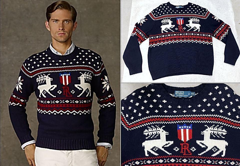 Polo Ralph Lauren Lauren Lauren Intarsia Reindeer Sweater XXL Cashmere Blend NWT a7189e