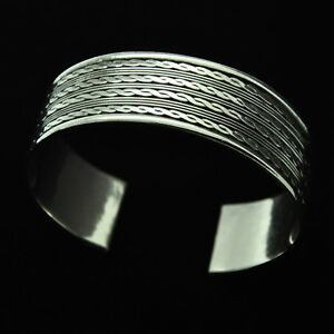 Heavy-amp-Wide-Vintage-Rope-Design-Cuff-Bracelet-in-Solid-925-Sterling-Silver