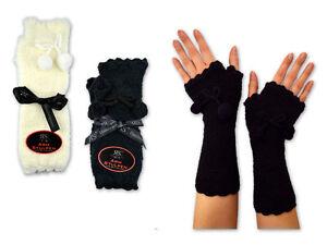 Handstulpen-Armstulpen-Damen-Arm-Hand-Stulpen-Schwarz-Weis-Lila