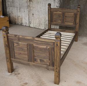 Pinie Massiv Bett 90x200 Bett Holz Massivholzbett Corona Eiche Antik