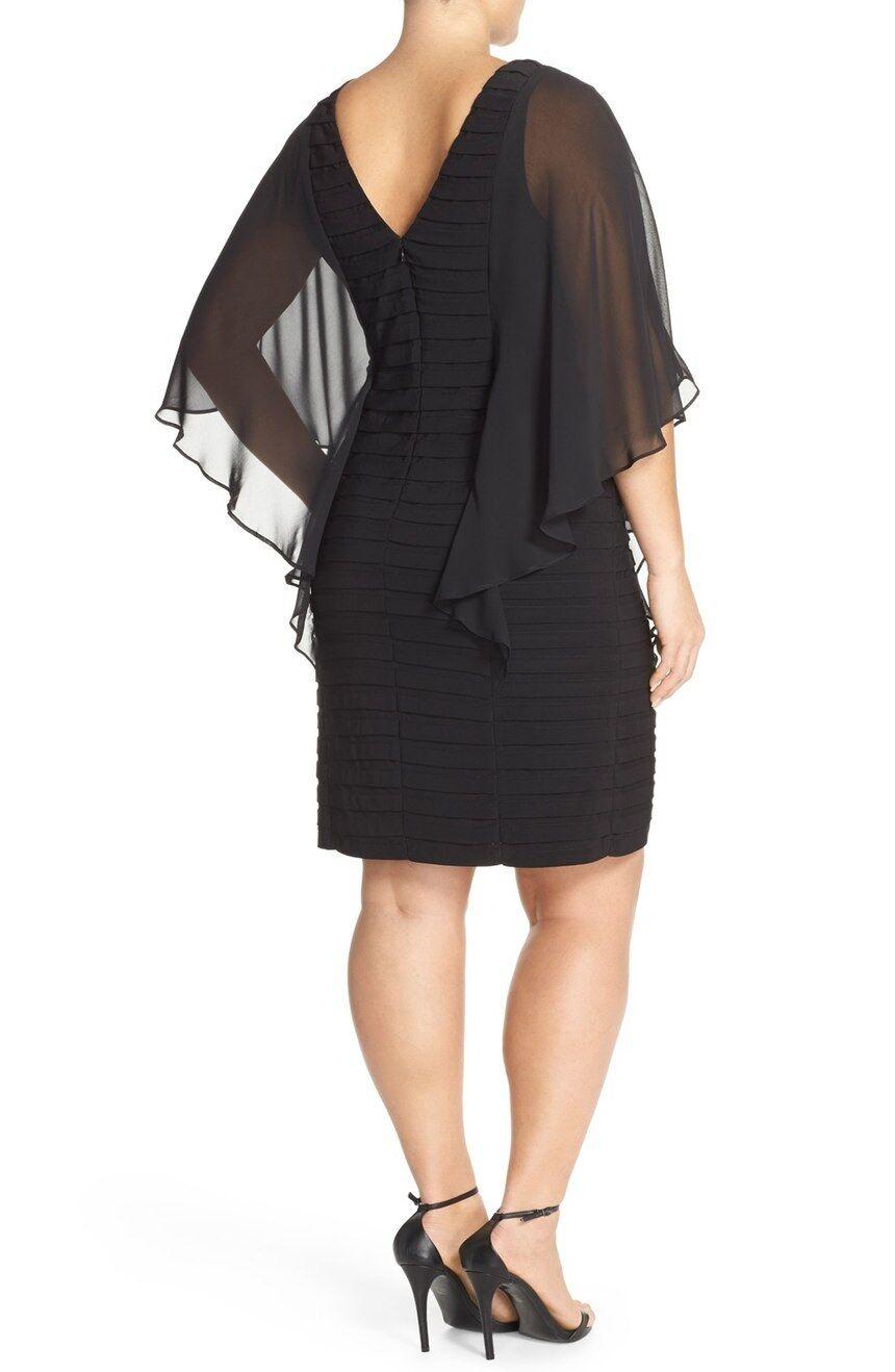 Adrianna Papell Illusion Sleeve Shutter Pleat Sheath Dress sz 22w new