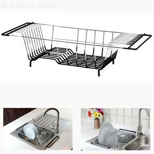 Image Is Loading Over The Sink Kitchen Dish Drainer Rack Holder