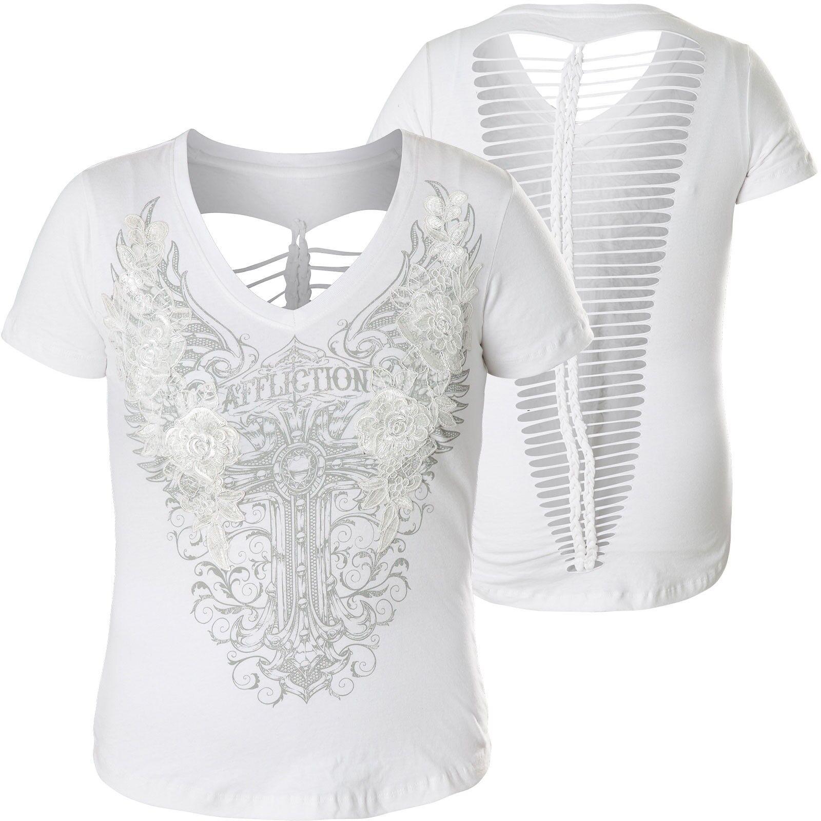 AFFLICTION Damen T-Shirt Lorelei Weiß