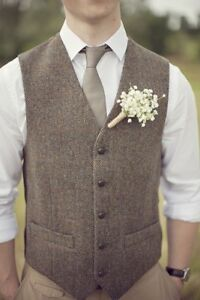 UK-Mens-Brown-Herringbone-Wool-Blend-Tweed-Waistcoat-Wedding-Casual-Vest
