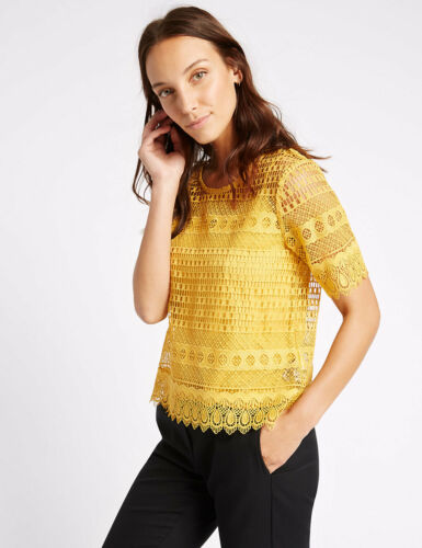 BNWT M/&S Collection Mustard Short Sleeve Lace Top /& Camisole Set