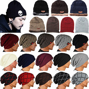 9bdb3cb6980 Women Men Crochet Knit Hat Winter Beanie Beret Baggy Warm Wool ...