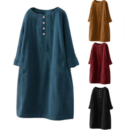 Plus Size Womens Vintage Pockets Corduroy Solid Button Sleeve Loose Casual Dress