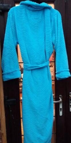 Carole Hochman Plush Super Soft Long Robe//Dressing Gown Textured Aqua