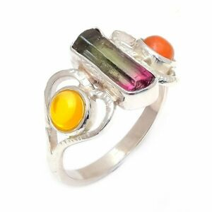 925-Sterling-Silver-Watermelon-Tourmaline-Natural-Gemstone-Ring-Size-7-5-US