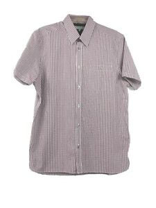 Ted-Baker-Men-039-s-Size-4-Short-Sleeve-Shirt-Button-Up-Purple-White-Checked-NWT