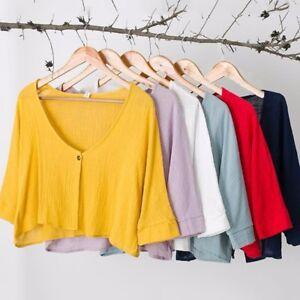 Women-Linen-Cotton-Short-Cardigan-Coat-Low-Cut-3-4-Sleeve-Bolero-Shrug-Shawl-Top