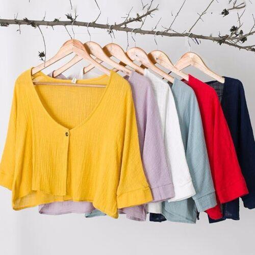Lady Linen Cotton Short Cardigan Coat Cut 3//4 Sleeve Bolero Shrug Shawl Top Cute