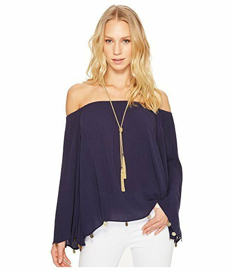 NWT LILLY PULITZER DELANEY TOP TRUE NAVY S,M,L,XL OFF SHOULDER WITH ACCENTS