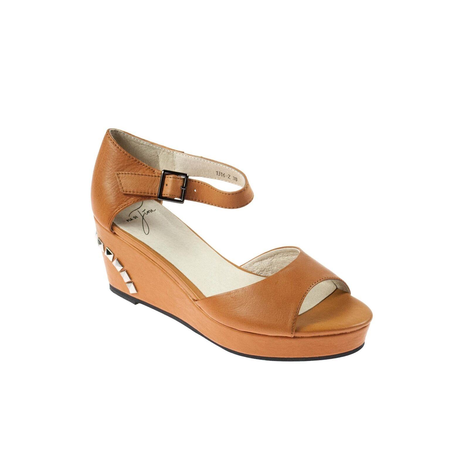 Pia di fiore da pelle donna zeppa sandali marrone pelle da con borchie 71a31a