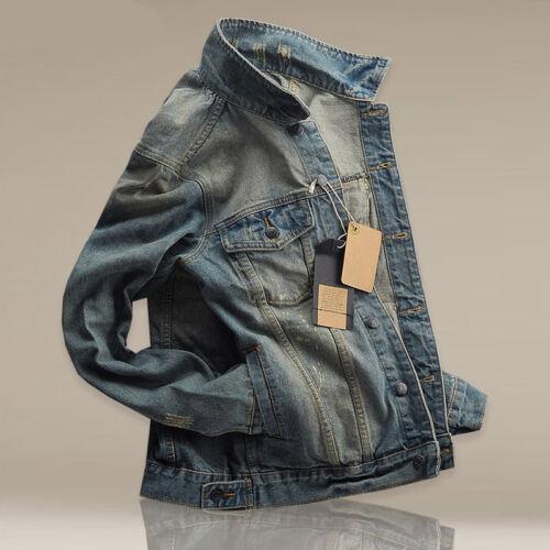 2019 Men/'s Slim Fit Classic Retro Thicken Coat Jean Denim Jacket Outerwear Hot