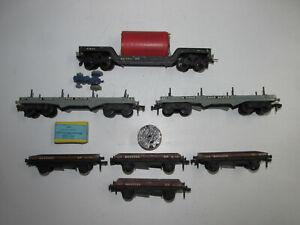 Konvolut-7-alte-Hornby-Guss-Spur-00-Eisenbahnwagen-Gueterwagen-mit-Ladegut