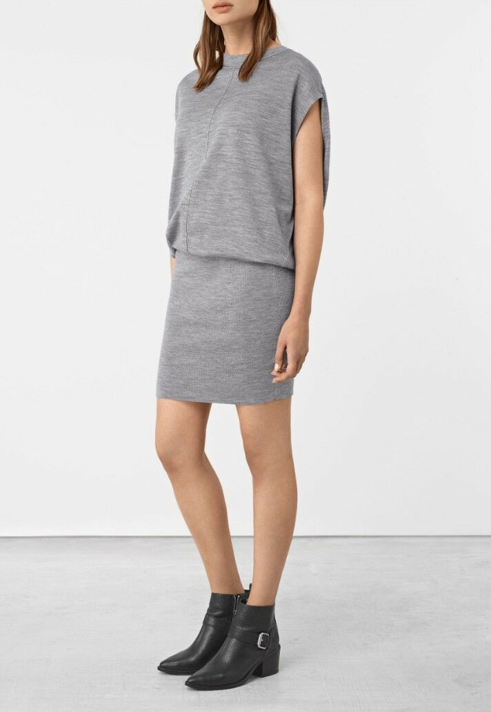 Bnwt Allsaints Dornie Merino jumper dress.sz large (fits 14).grau.