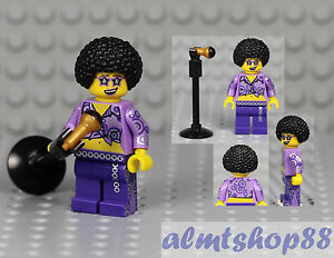 LEGO NEW ROCKSTAR DISCO KING MUSICIAN MINIFIGURE WITH GUITAR MICROPHONE SINGER