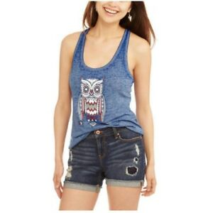 e7144395810bb No Boundaries Tank Top Small Blue Owl Ring Back Solid Sleeveless
