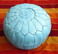 Authentic Handmade Moroccan Leather Pouffe - Blue