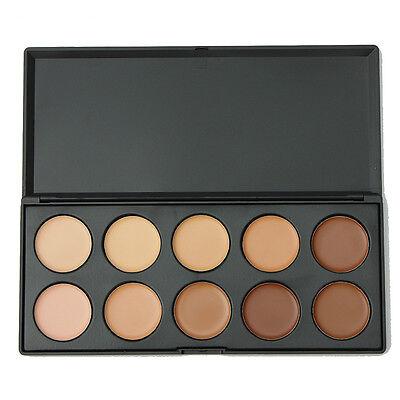 10 Color Contour Face Makeup Concealer Palette Kit Set Makeup Brush Sponge GG