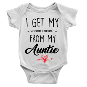 Good Looks From My Auntie Babygrow Cute Sweet Present Hearts Aunt Gift New Baby