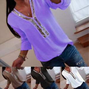 7809a7c7a84cd UK Womens Long Sleeve Sequin V-neck Tops Blouse Ladies Casual T ...
