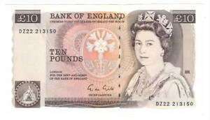 ENGLAND-10-Pounds-aUNC-Banknote-1988-1991-P-379e-Prefix-DZ22-Gill-Signature