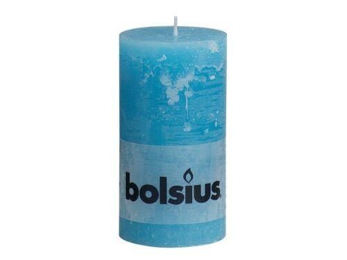 BOLSIUS STUMPENKERZE RUSTIC 130 X 68 MM AQUA STUMPEN-KERZE RUSTIK NEU