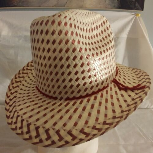 ADJUSTABLE BABY INFANT TODDLER SOFT STRAW WESTERN COWBOY HAT BURGANDY