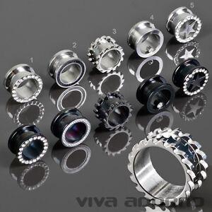 4-24mm-Flesh-Tunnel-Plug-Acero-Tunel-Dilatador-Piercing-Oreja-inox-rosca-Z456