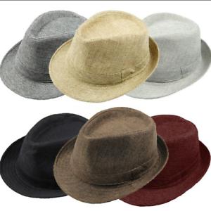 Men-Women-Summer-Beach-Trilby-Fedora-Straw-Panama-Gangster-Cap-Sun-Jazz-Hat